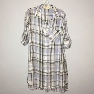 Anthropologie Cloth & Stone Plaid Tunic Dress NWOT